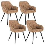 WOLTU 4 x Esszimmerstühle 4er Set Esszimmerstuhl Küchenstuhl Polsterstuhl Design Stuhl mit Armlehne, mit Sitzfläche aus Stoffbezug, Gestell aus Metall, Braun, BH224br-4