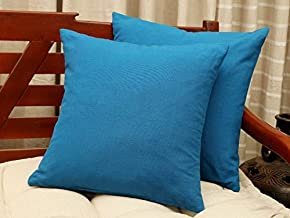 CANNANORE WEAVES 18 X 18 in Decorative Throw Pillow Covers, Cushion Cases or Pillow Cases for Couch, Sofa, Bedroom, Bohemian Pillow, Set of 2, for Home Décor or Farmhouse, 100% Cotton, Color Blue