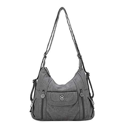 angel kiss Satchel Handbag for Women, Ultra Soft Washed Vegan Leather Crossbody Bag, Shoulder Bag, Tote Purse (ZCO118-26GREY)