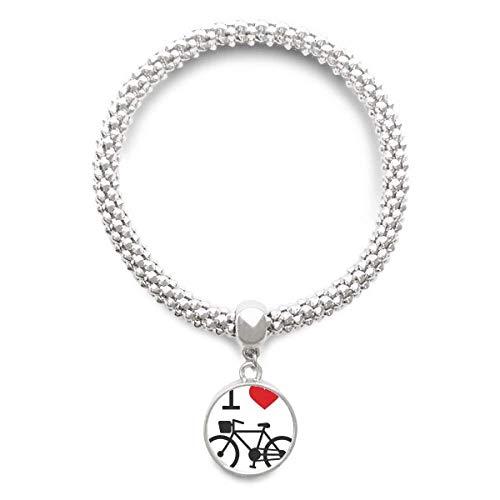 DIYthinker Damen Ich Liebe rotes Herz-Fahrrad-Muster-Splitter Armband Laufende hängende Schmuckkette