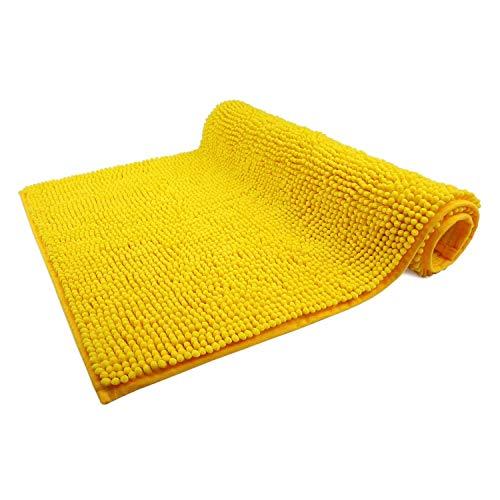 Alfombra para baño amarilla antideslizante de poliester (50 x 80 cm)