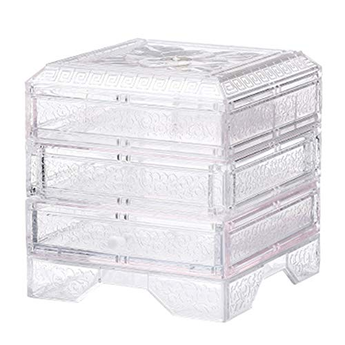 Wgreat Clear 3-laags sieradendoos, kleine sieradenorganisator, vitrine, cadeautje voor geliefden, draagbare sieradenorganisator doos