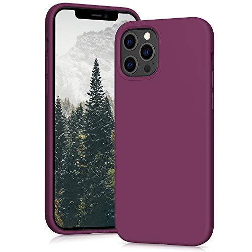 YATWIN Funda Compatible con iPhone 12 Pro MAX 6,7', Carcasa iPhone 12 Pro MAX Funda de Silicona, Sedoso-Tacto Suave, Estructura de 3 Niveles con Forro Suave de Microfibra, Vino Tinto
