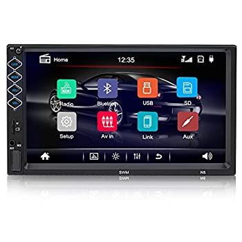 7 inch Bluetooth Car Stereo Double Din Audio Multimedia Systems Touchscreen Car Radio MP5 Player FM Audio Receiver Support Rear View Camera Steering Wheel Controls and Mirror Link