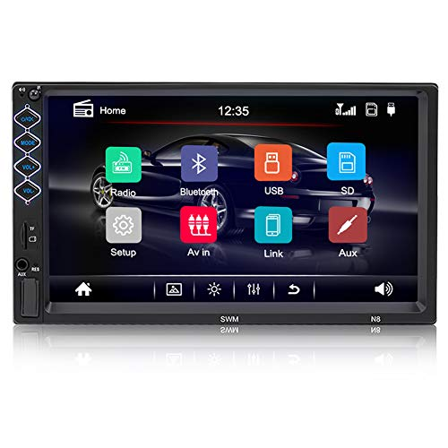 Digital Multimedia Universal Car Stereo with Bluetooth, Hieha 7 inch Double Din Touch Screen in-Dash Car FM Radio Receiver MP5 Player, Support Rear View Camera, Steering Wheel Controls, Mirror Link