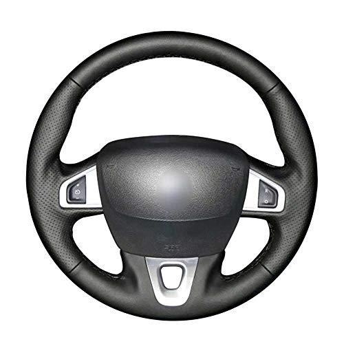 WOLDce Fundas para Volante de Cuero Negro Cosidas a Mano, aptas para Nissan NV250 Renault Fluence Megane Grand Scenic Kangoo SM3