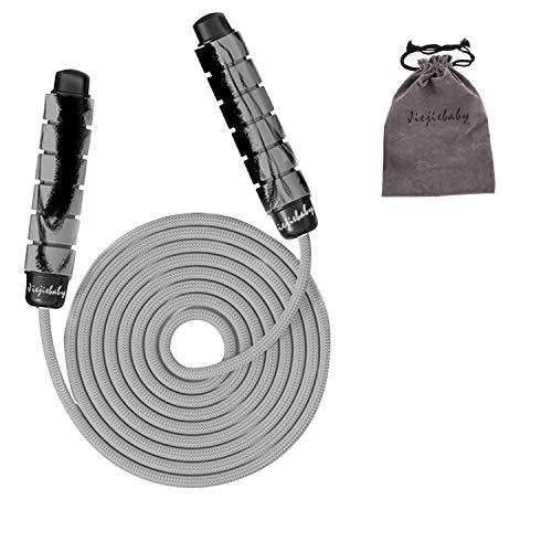 なわとび 耐力 運動 縄跳び ハンドル素材EVA + PP 直径9mm、長さ3.3m (灰)