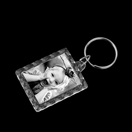 10個入り透明ケース写真キーチェーンキーホルダーキーリングオリジナルキーホルダー写真入れ記念品長方形