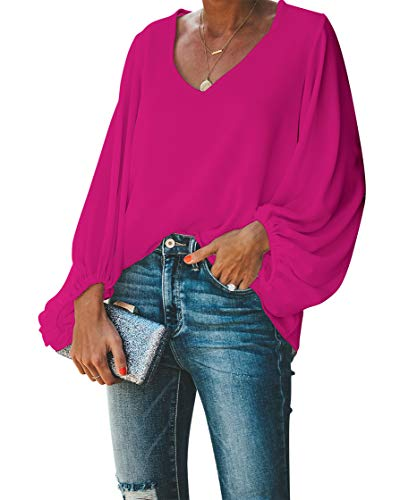 BELONGSCI Women's Casual Sweet & Cute Loose Shirt Balloon Sleeve V-Neck Blouse Top Rose Red