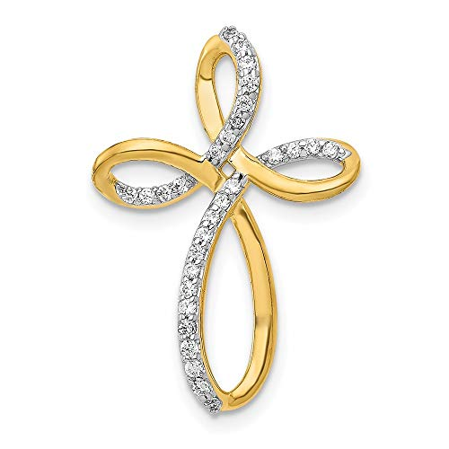 14ct Yellow Gold 1/6 cttw Diamond Cross Chain Slide Pendant