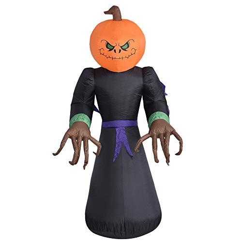 Rvest Halloween Aufblasbar,Halloween Deko,Halloween Deko,Aufblasbare Halloween-Puppe - LED Luminous Blow Up Pumpkin Head Ghost
