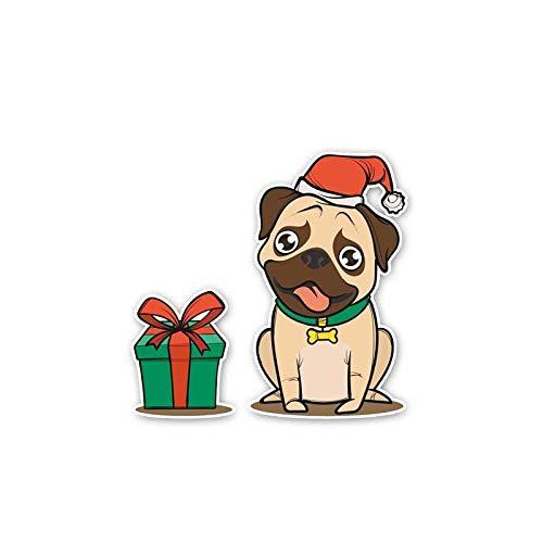 QULIN 13.6CM * 13CM EIN Hund mit Weihnachtsmütze und Geschenk PVC Hochwertiger Autoaufkleber