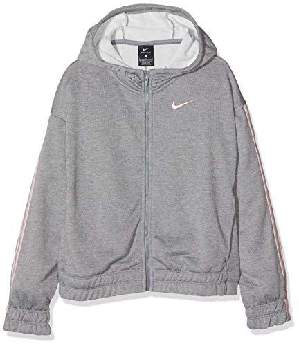 Nike Mädchen G NK HOODIE FZ STUDIO Sweatshirt,Grau (Carbon Heather), S