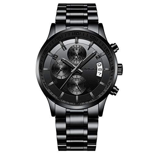 CRRJU Reloj de pulsera para hombre de acero inoxidable, resistente al agua, cronógrafo, analógico, con calendario, correa de acero inoxidable, cronógrafo, de cuarzo, Schwarz-schwarz Hände,