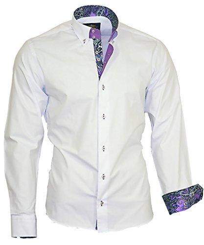Binder de Luxe Herren Herren Hemd modern fit Langarm mit Kontrast und Button-Down-Kragen Weiß 46