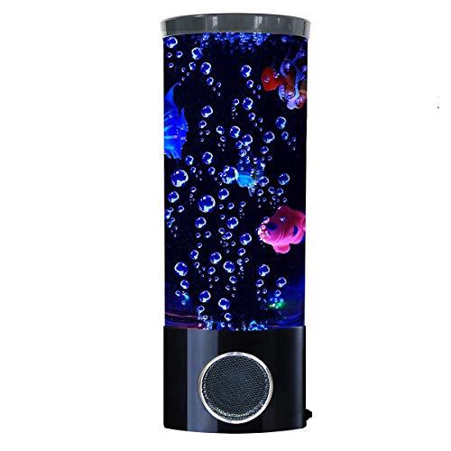 Mini Fisch Lava Lampe Bluetooth Lautsprecher Blase LED Fantasy Mehrfarbig wechselndes Aquarium Licht mit 4 künstlichen Fischen elektrische Stimmung Nachtlicht für Dekor Geschenke für Frauen Kinder