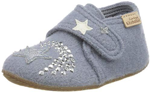Living Kitzbühel Jungen Mädchen Babyklettschuh Einhorn & Stern Hausschuh, Pearl Blue, 28 EU