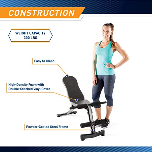 Marcy Multi-Purpose Adjustable Workout Utility Weight Bench for Full Body Upright, Incline, Decline, and Flat Exercise SB-228 , 42.00 x 26.00 x 48.00 inches