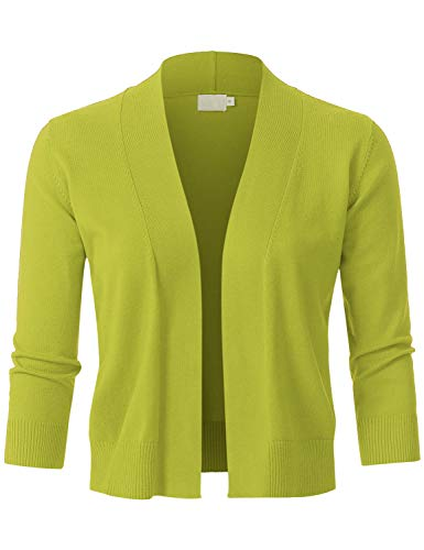 JSCEND Womens Classic 3/4 Sleeve Open Front Cropped Bolero Cardigan Lime M
