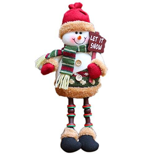 AITOCO Muñeca de la decoración de la Navidad, Estilo Encantador de Santa/Snowmen/Elk para el árbol de Navidad Que cuelga o el Regalo del niño (Snowman B)