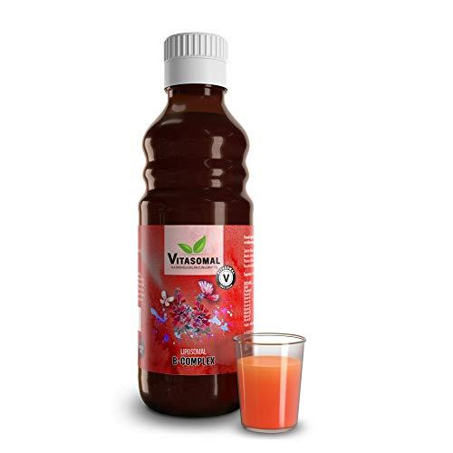 Vitasomal - Liposomal PREMIUM B-Komplex | B Vitamine | Vitamin B12 | Kein Alkohol! | 31 Anwenungen statt nur 25! | Nahrungsergänzungsmittel - flüssig 250 ml Glasflasche