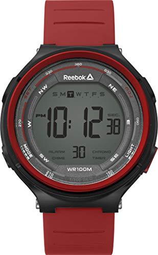 REEBOK Reloj Kalsu Red para hombre, caja de 46mm, cara gris, caja ABS, correa de PU roja, esfera gris/negra (RD-KLS-G9-PBPR-WR) (rojo)