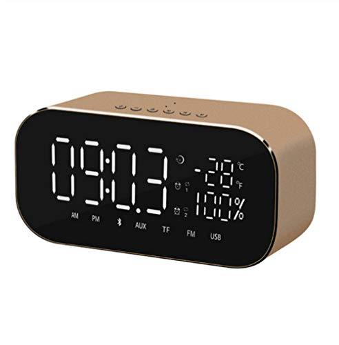 ZYZYY Led-wekker met FM-radio, draadloos, bluetooth-houder voor luidsprekers, muziekspeler, USB, draadloos, voor kantoor en thuis