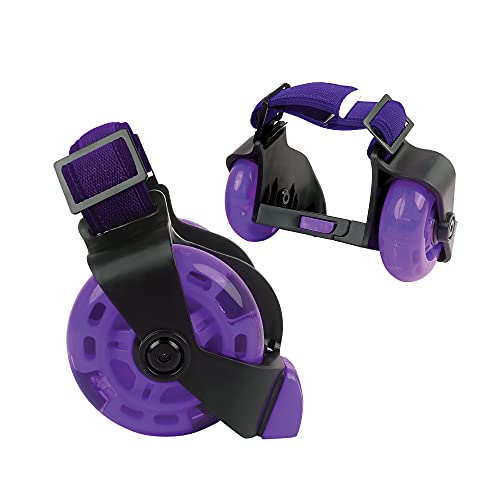 New-Bounce Heel Wheel Skates with Lights - Jet Wheelies for Shoes - Adjustable Roller Heel Skates for Kids - One Size Fits Most (Purple)