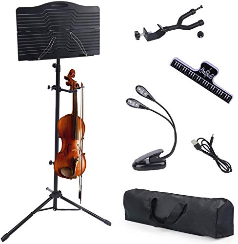 Klvied Violin Music Stand with Violin Hanger, Portable Folding Violin Stand, Foldable Music Stand for Sheet Music with Carrying Bag, Light, Black