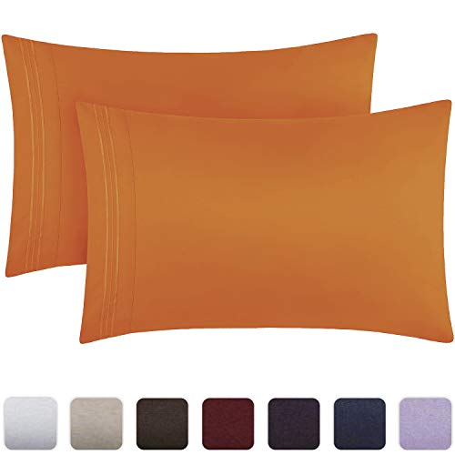 Mellanni Luxury Pillowcase Set - Brushed Microfiber 1800 Bedding - Wrinkle, Fade, Stain Resistant - Hypoallergenic (Set of 2 Standard Size, Persimmon)