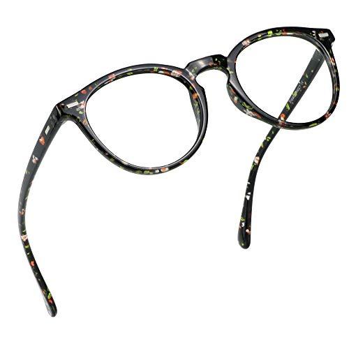 LifeArt Blue Light Blocking Glasses, Computer Reading Glasses, Gaming Glasses, TV Glasses for Women Men, Anti Glare (Floral, 2.50 Magnification)