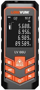 Medidor Laser de Distancia,LOMVUM 80M Profesional Metro Laser,Telemetro Laser con Precisión 1mm,Niveles de Electronico