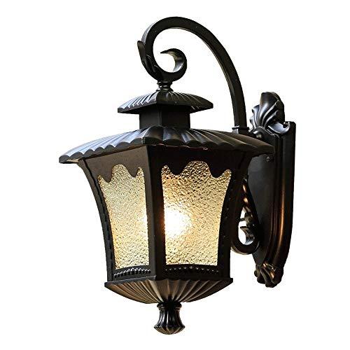 ZSAIMD Aplique de exterior, bombillas no incluida, casquillo E27, aluminio, color negro, diseñado para jardines y patios Negro al aire libre Finalizar la linterna pared linterna creativo