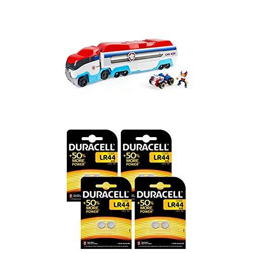 PAW PATROL Lot 6024966 - Camion Pat' Patrouilleur - la Pat' Patrouille + Pile Bouton alcaline Duracell spéciale LR44, 8 Piles