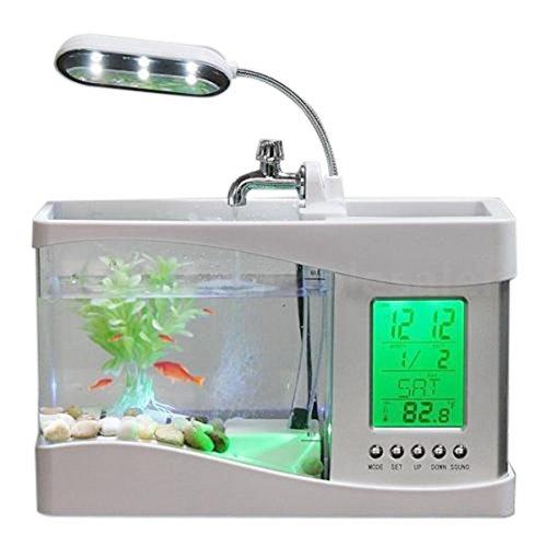 Vaorwne Home Aquarium Kleine Aquarium USB LCD Desktop Lampe Licht Led Uhr Wei?
