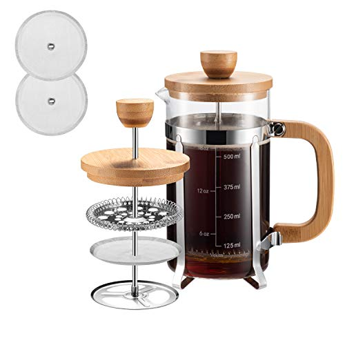 French Press Coffee Maker with 4 Filter Screens, Durable 304 Grade Stainless Steel Heat Resistant Borosilicate Glass Tea Maker (5 cups, 21 oz)