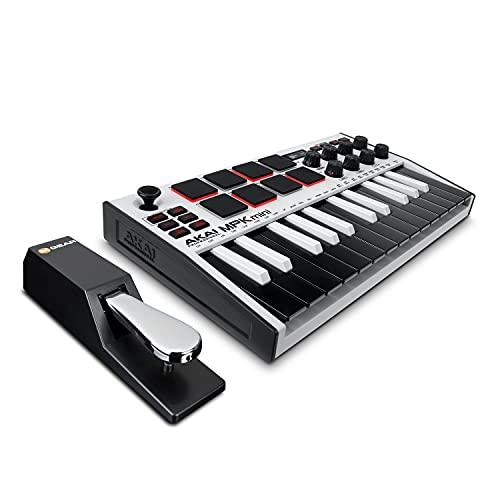 AKAI Professional MPK Mini MK3 White + M-Audio SP-2 - Teclado controlador MIDI USB con 25 teclas, 8 drum pads y software + Pedal de sustain
