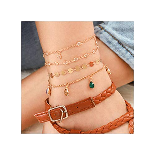 deladola Boho Anklets Bracelet Gold Crystal Rhinestones Layered Pendant Ankle Bracelets Sequins Beach Foot Chains Jewelry for Women and Girls(4 PCS)