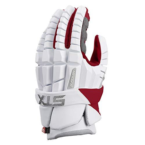 STX Lacrosse Surgeon RZR Gloves, Medium, White/Red