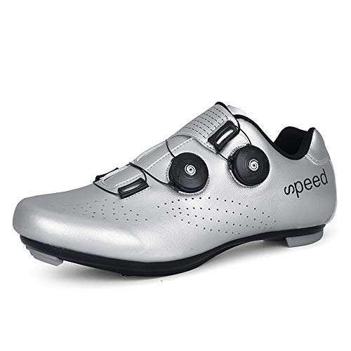 BETOOSEN Breathable Road Bike Cycling Shoes MTB Spin Bicycle Shoes Mens Womens with Quick lace Self-Locking Compatible SPD Cleats (Silver, 10 M US Women/8.5 M US Men)