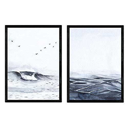 Nacnic Set de Dos láminas Mediterraneo. Láminas Estilo nórdico para enmarcarTamaño A4