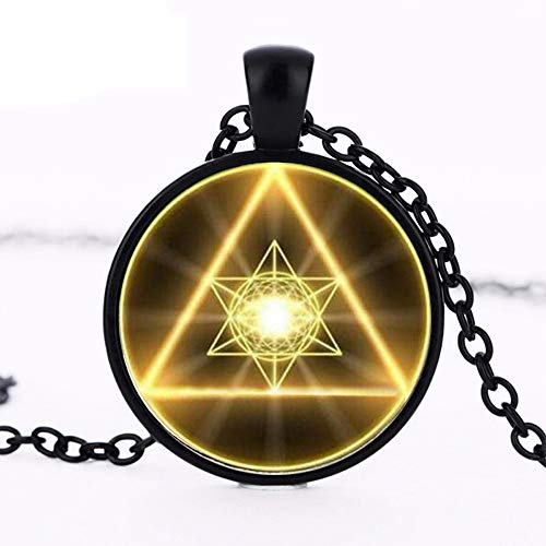 Gold Sacred Geometry Cabochon Glass Tibet Round Chain Pendant Necklace Art Glass Chain Jewelry