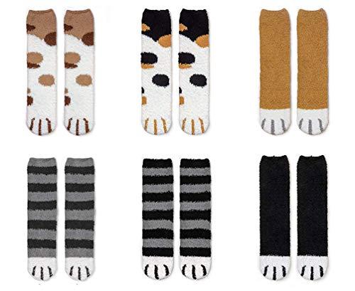 Yutdeng Calcetines Mujer Invierno Termicos Divertidos Lindos Calcetines de Pata de Gato Kawaii Calcetines de Invierno Algodón Regalo Creativo