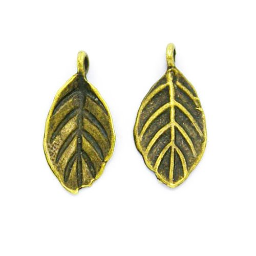 Tibetan Leaf Charm Pendants Steampunk Antique Bronze 15mm 20 Packs of 10