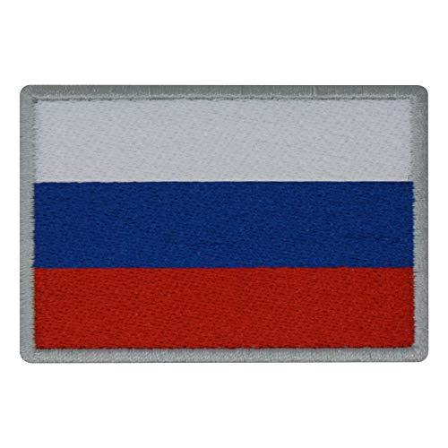 FanShirts4u Aufnäher - Russland - Fahne - 8 x 5,5cm - Flagge Wappen Bestickt Patch Badge Russia (Silberne Umrandung)