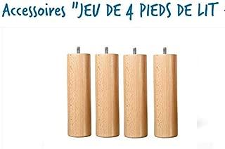 Wood select Set di 4/Piedi di Letto in Legno massello Naturale Altezza 20/cm