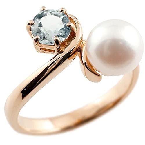 [アトラス]Atrus リング レディース 10金 ピンクゴールドk10 アクアマリン 真珠 フォーマル 指輪 宝石 22号