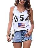 Women's USA Tank Top American Flag Racerback Tanks Top for Women Sleeveless Patriotic Tanks Shirt White