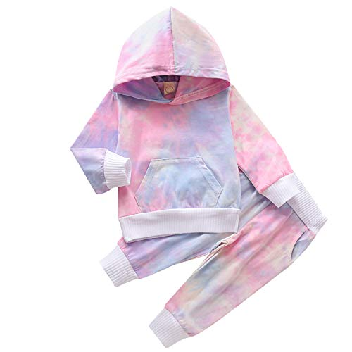 Baby Girls Boys Winter Clothes Set Long Sleeve Striped Hoodie Sweatshirt Pants Outfit Sets for Newborn Infant Toddler Babies (Pink Purple Blue, 3-4 t)