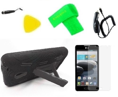 Heavy Duty Hybrid Phone Cover Case Cell Phone Accessory + Car Charger + Extreme Band + Stylus Pen + Screen Protector + Pry Tool For LG Optimus F6 D500 MS500 D505 (Black/Black)